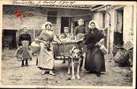 Belgien, Laitières, Le Départ de la Ferme, Milchmädchen, Zughund