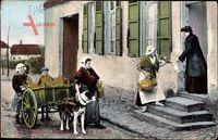 Belgien, Laitières, Milchmädchen verkaufen Milch an der Tür, Zughund