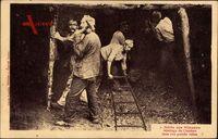 Série des Mineurs, Abattage du Charbon, Bergbau, Kohleabbau, Gleis