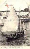 Dieppe Seine Maritime, Pilotes entrant dans les Jetees, Segelboot,Levy & Fils