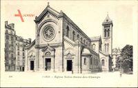 Paris, Église Notre Dame des Champs, Straßenpartie mit Blick auf Kirche