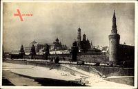 Moskau Russland, Blick auf den Kreml im Winter, zugefrorener Fluss Moskwa