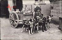 Frau in belgischer Tracht mit Hundekarren, Milchfrau, Zughunde