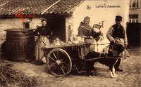 Laitiere flamande, Milchfrau in Tracht mit Hundekarren