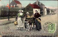 Belgique Laitieres, en route pour la ville, Hundekarren, Frauen in Tracht