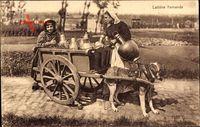 Laitiere flamande, Milchfrau in Tracht mit Hundekarren, Milchkannen
