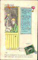 Concierge, Pförtnerin, Hauskatze streichelnd, Papagei, Frankreich