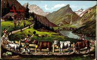 Alpfahrt, Départ pour les Alpes, Away, to the Alps, Almauftrieb