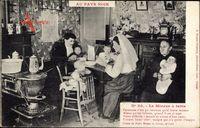 Au Pays Noir, Le Mineur à table, Bergmann mit Familie am Tisch