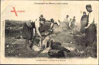 Casablanca Marokko, Cuisines du 4e Zouaves, Soldaten an Feuerstelle