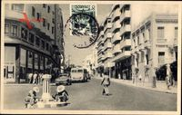 Tanger Marokko, Boulevard Pasteur, Passanten, Autos, Häuser