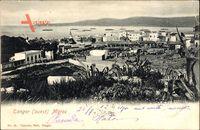 Tanger Marokko, Ouest, Blick auf den Ort, Agaven, Meer, Kriegsschiffe