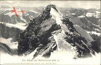 Italienischer Gipfel des Matterhorns aus der Vogelschau
