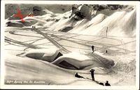 Schweiz, Sprung über die Sennhütte, Skifahrer, Haus unter Schnee begraben