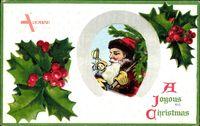 Frohe Weihnachten, Weihnachtsmann, Stechpalmenblätter