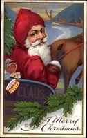 Frohe Weihnachten, Weihnachtsmann, Rentier, Schneeschlitten