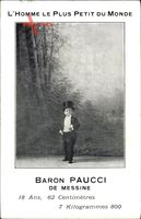 Baron Paucci de Messine, Liliputaner, Homme le plus petit du monde