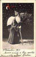 Frohe Weihnachten, Weihnachtsmann, Gehstock, Sternenhimmel