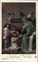 Frohe Weihnachten, Weihnachtsmann, Kinder, Mädchen, Geschenke