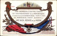 Les Armées et leurs chefs, Clemenceau, Foch, Mérité de la Patrie
