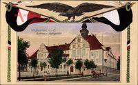 Passepartout Weißwasser Oberlausitz, Rathaus, Amtsgericht, Adler, Fahnen