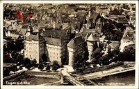 Torgau Elbe, Fliegeraufnahme, Stadtansicht, Burg, Brücke, Häuser