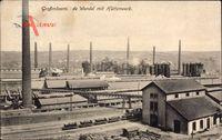 Großmövern Moselle, De Wendel,Blick auf das Hüttenwerk, Güterzug, Schornstein
