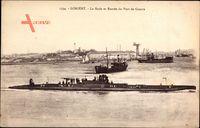 Lorient Morbihan, La Rade et Entree du Port de Guerre, Französisches Uboot