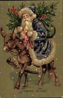 Frohe Weihnachten, Weihnachtsmann auf einem Esel