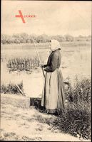 Au bord de lEau, Bäuerin am Flussufer, Frankreich