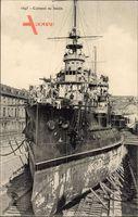 Französisches Kriegsschiff, Cuirassé au bassin, Fr. Kriegsschiff, Trockendock
