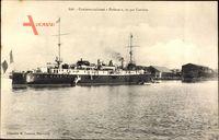Französisches Kriegsschiff, Croiseur cuirassé, Pothuau, Vu par larrière