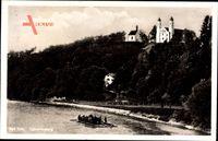 Bad Tölz im Isartal Oberbayern, Blick auf den Calvarienberg, Kirche, Floß