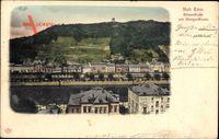 Bad Ems im Rhein Lahn Kreis, Blick in die Römerstraße mit Bismarckturm