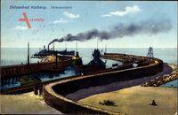 Kołobrzeg Kolberg Pommern, Hafeneinfahrt, Dampfschiff