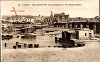 Cordoba Andalusien Spanien, Viste general del rio Guadalquivir,Molinos arabes