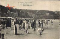 Donostia San Sebastián Baskenland, Playa de Banos, Strand, Badegäste