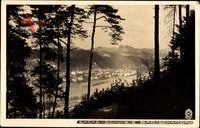 Bad Schandau an der Elbe, Blick auf den Ort, Flusspartie, Hahn 3621