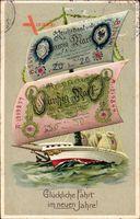 Geldschein Glückwunsch Neujahr, Segelboot, Reichsmark