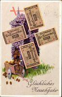 Geldschein Glückwunsch Neujahr, Windmühle, Reichsbanknote