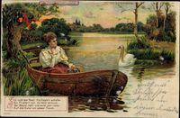 Haltgegendaslicht Still ruht der See, Meteor 88690, Frau, Boot, Schwan