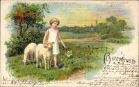 Haltgegendaslicht , Glückwunsch Ostern, Kind mit Lämmern, Meteor 88690