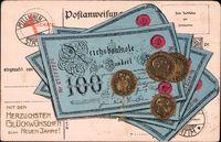 Geldschein Glückwunsch Neujahr, Reichsmark, Goldmark