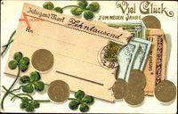 Geldschein Glückwunsch Neujahr, Goldmark, Klee, Reichsmark