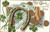 Geldschein Glückwunsch Neujahr, Hufeisen, Reichsmark, Goldmark