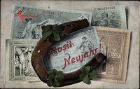 Geldschein Glückwunsch Neujahr, Reichsmark, Banknoten, Hufeisen, Klee