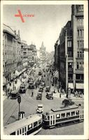 Praha Prag, Graben, Prikopy, Straßenpartie, Straßenbahn