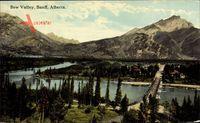 Banff Alberta Kanada, Bow Valley, Ort im Tal, Fluss, Brücke