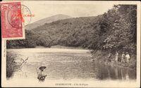 Guadeloupe, L'As de Pique, Flusslauf, Männer mit Gewehren