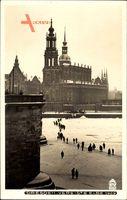Dresden, Die vereiste Elbe mit Blick auf Kirchen, Walter Hahn 4795